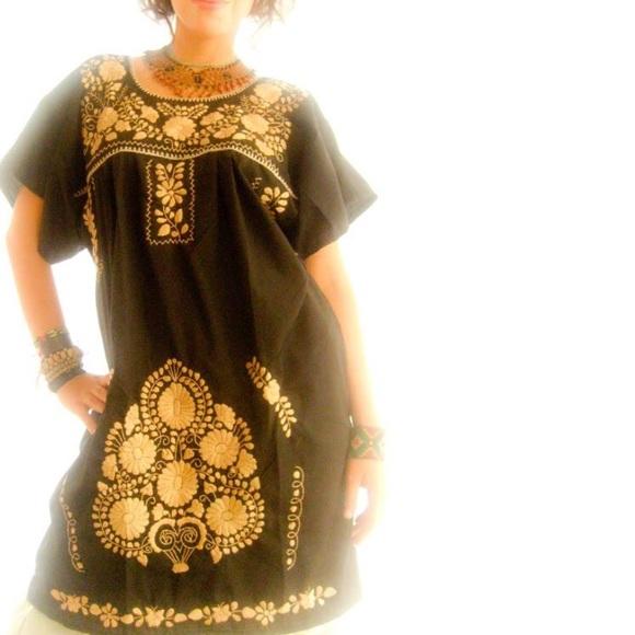 95f89ad95b6b AidaCoronado Dresses | Mexican Dress Gold Black Embroidered | Poshmark